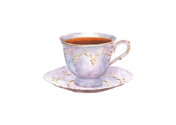 stockillustraties, clipart, cartoons en iconen met aquarel porseleinen kopje thee en schotel - theekop