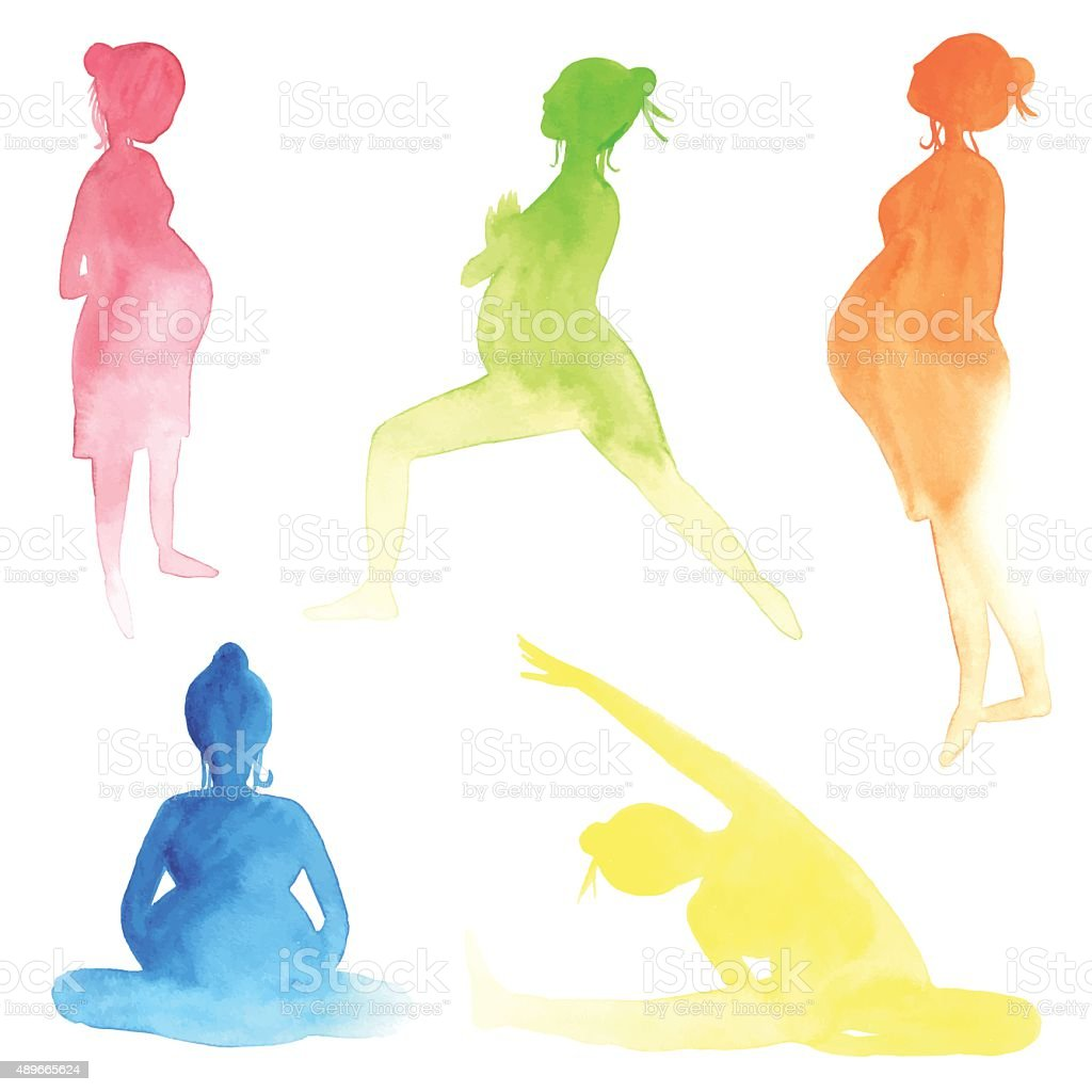 Watercolor pregnant women vector art illustration