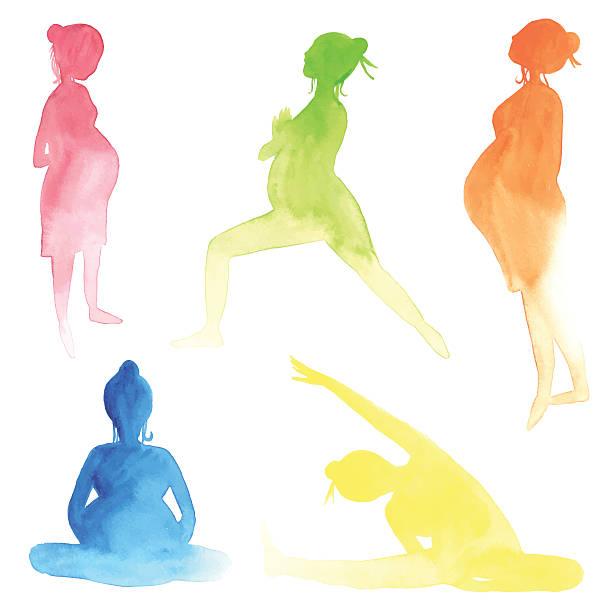 aquarell schwangere frauen - schwangerschaft stock-grafiken, -clipart, -cartoons und -symbole