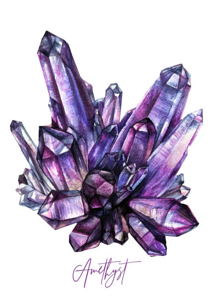 Watercolor Purple Amethyst Crystal Illustration vector art illustration