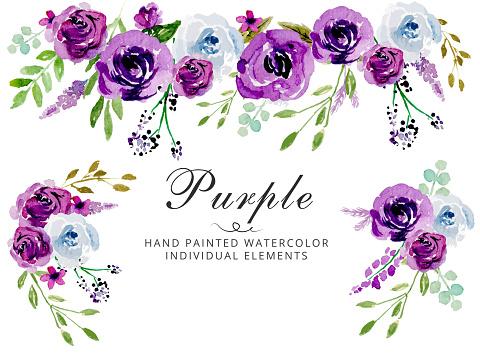 Watercolor Purple wedding invitation vector floral template - Vector