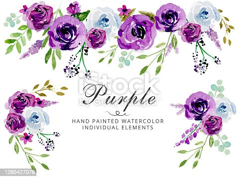 istock Watercolor Purple wedding invitation vector floral template - Vector 1265427076