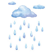 Vector illustration of cloud and rain.