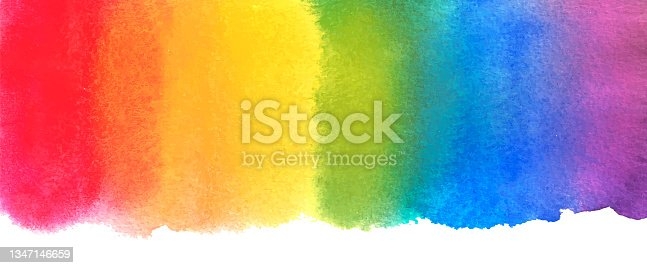istock Watercolor rainbow abstract painting background. Hand drawn artwork, paper texture. Red, orange, yellow, green, blue, indigo, violet, purple colors 1347146659