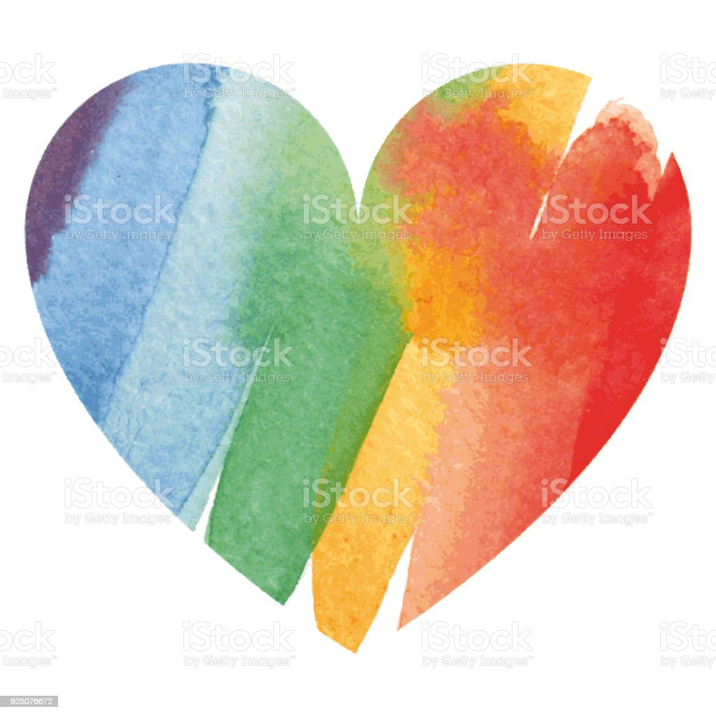 Watercolor rainbow colored heart vector art illustration
