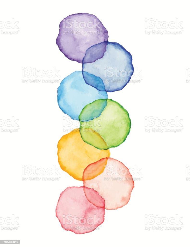 Watercolor Rainbow Dots vector art illustration