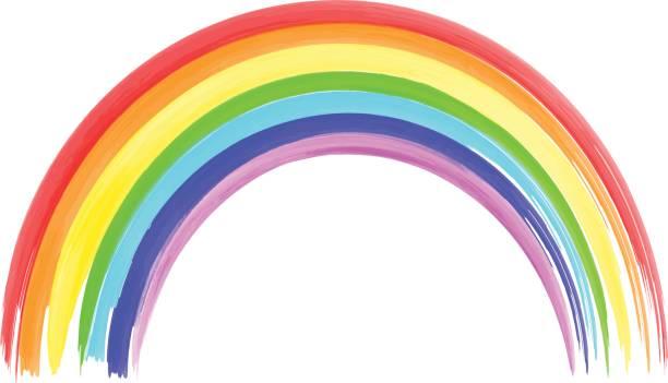 bildbanksillustrationer, clip art samt tecknat material och ikoner med vattenfärg regnbåge på vit bakgrund. akvarell borstar - regnbåge