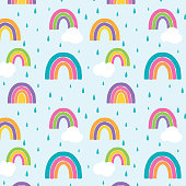 istock Watercolor Rainbow Seamless Pattern Bright 1211661312