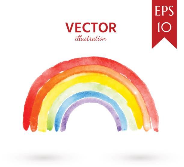 stockillustraties, clipart, cartoons en iconen met aquarel regenboog - regenboog