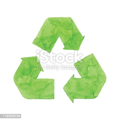 istock Watercolor Recycling Symbol Green 1132925734