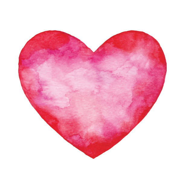 Watercolor Red Abstract Heart vector art illustration