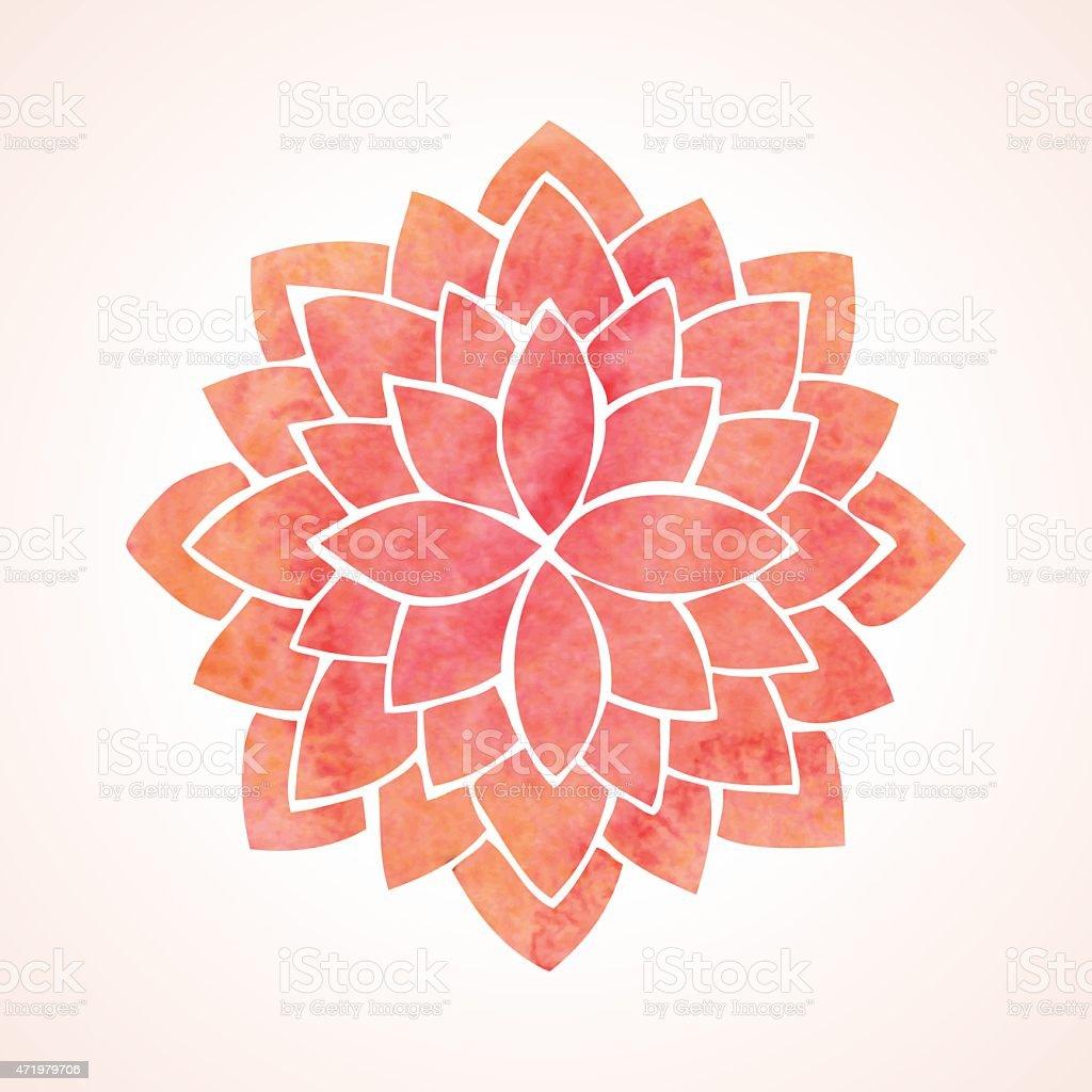 Watercolor red flower pattern. Mandala vector art illustration