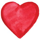 Watercolor red heart love symbol icon isolated vector.
