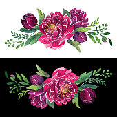 Watercolor Red Peonies Wreath In Stipple Effect. An original artwork vector illustration of hand drawn red peonies wreath. This inspirational design can be a postcard, invitation, web banner, shop window, postcard, invitation, poster or prints.