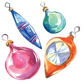 Watercolor retro vector Christmas hanging decorations: balls and icicles