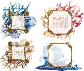 Watercolor rope frames with ocean design