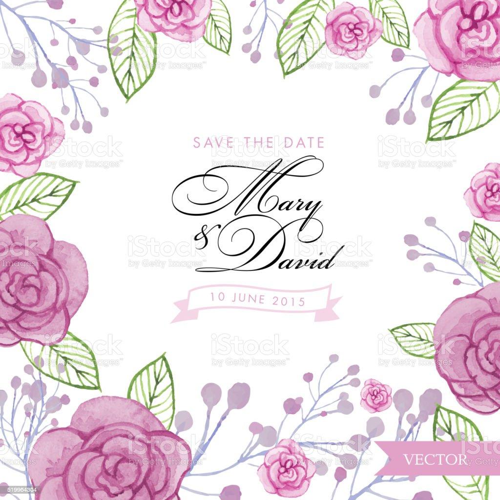 aquarell rosen hochzeit einladung vorlage speichern sie das datum, Einladung