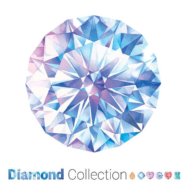watercolor round diamond - diamond shaped stock illustrations, clip art, cartoons, & icons