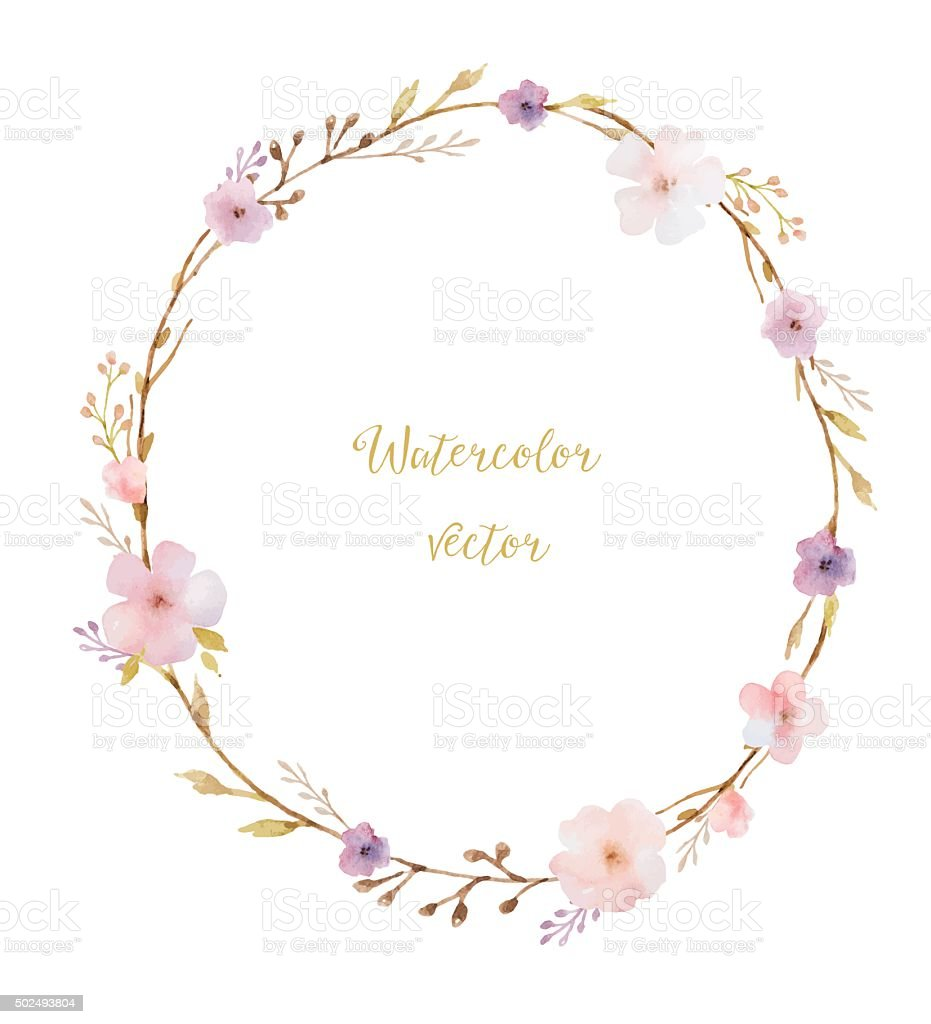 Watercolor round frame vector art illustration