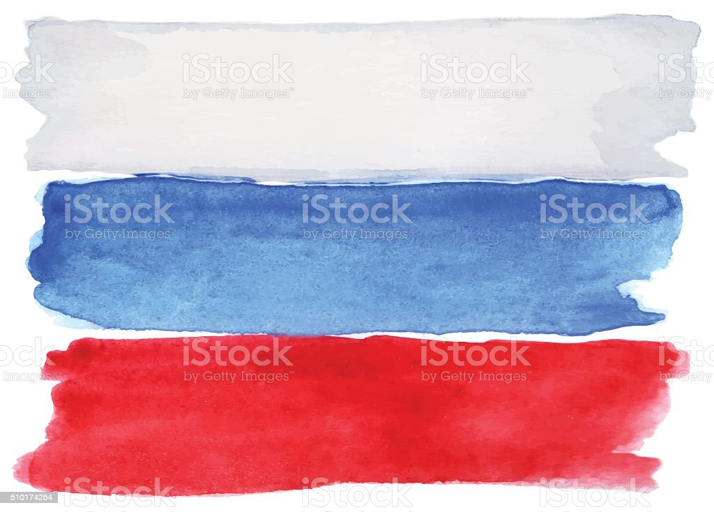 Watercolor Russia Russian flag 3 three color vector isolated vector art illustration