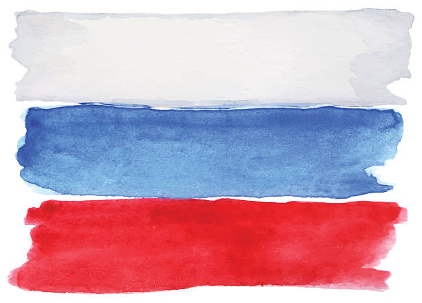 watercolor russia russian flag 3 three color vector isolated - russian flag stock illustrations, clip art, cartoons, & icons
