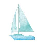 Vector illustration of blue sailboat.