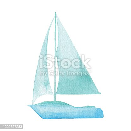 istock Watercolor Sailboat Logo 1222727283