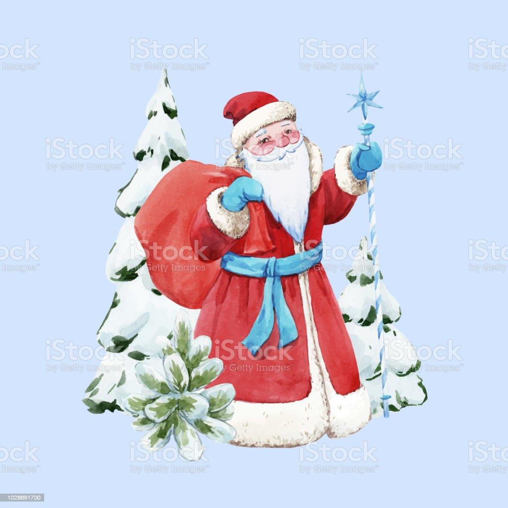 Sulu Boya Noel Baba Vektor Cizim Stok Vektor Sanati Agac Nin