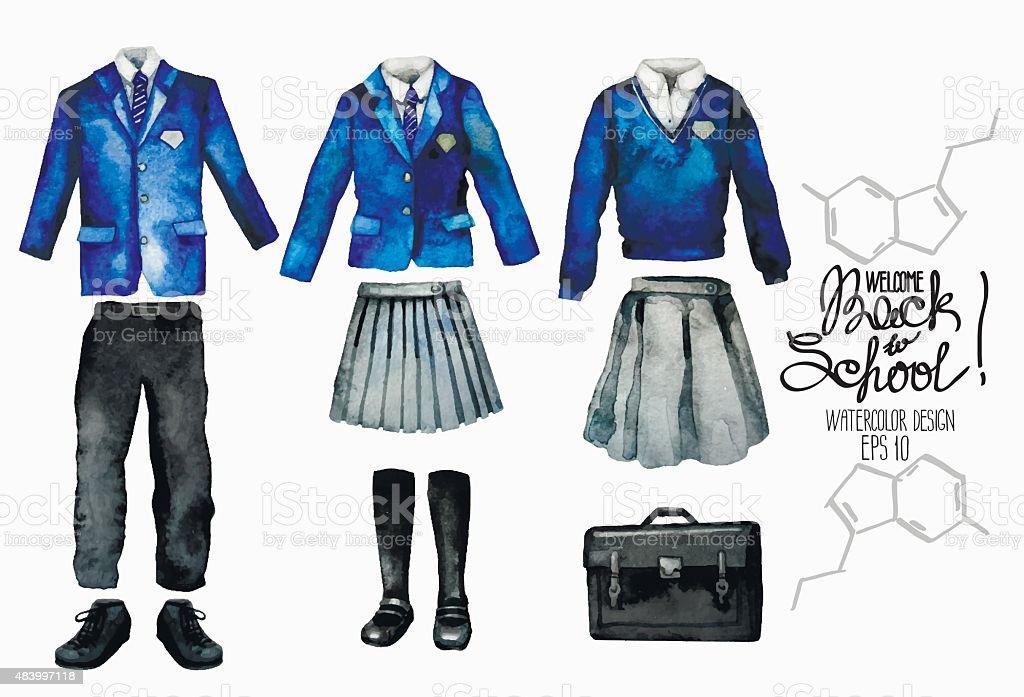 Watercolor school uniform set in blue color vector art illustration