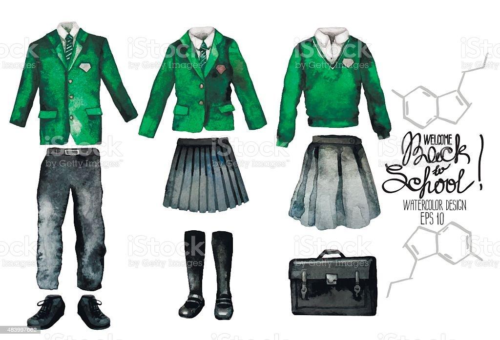 Watercolor school uniform set in green color vector art illustration