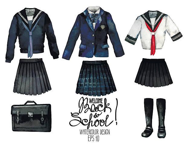 stockillustraties, clipart, cartoons en iconen met watercolor school uniform set in japanese style - schooluniform