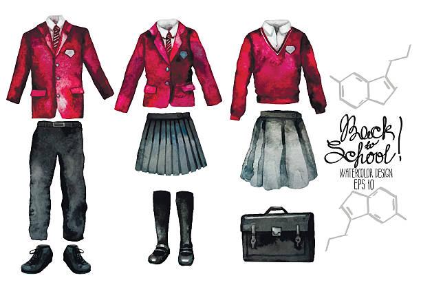 stockillustraties, clipart, cartoons en iconen met watercolor school uniform set in red color - schooluniform