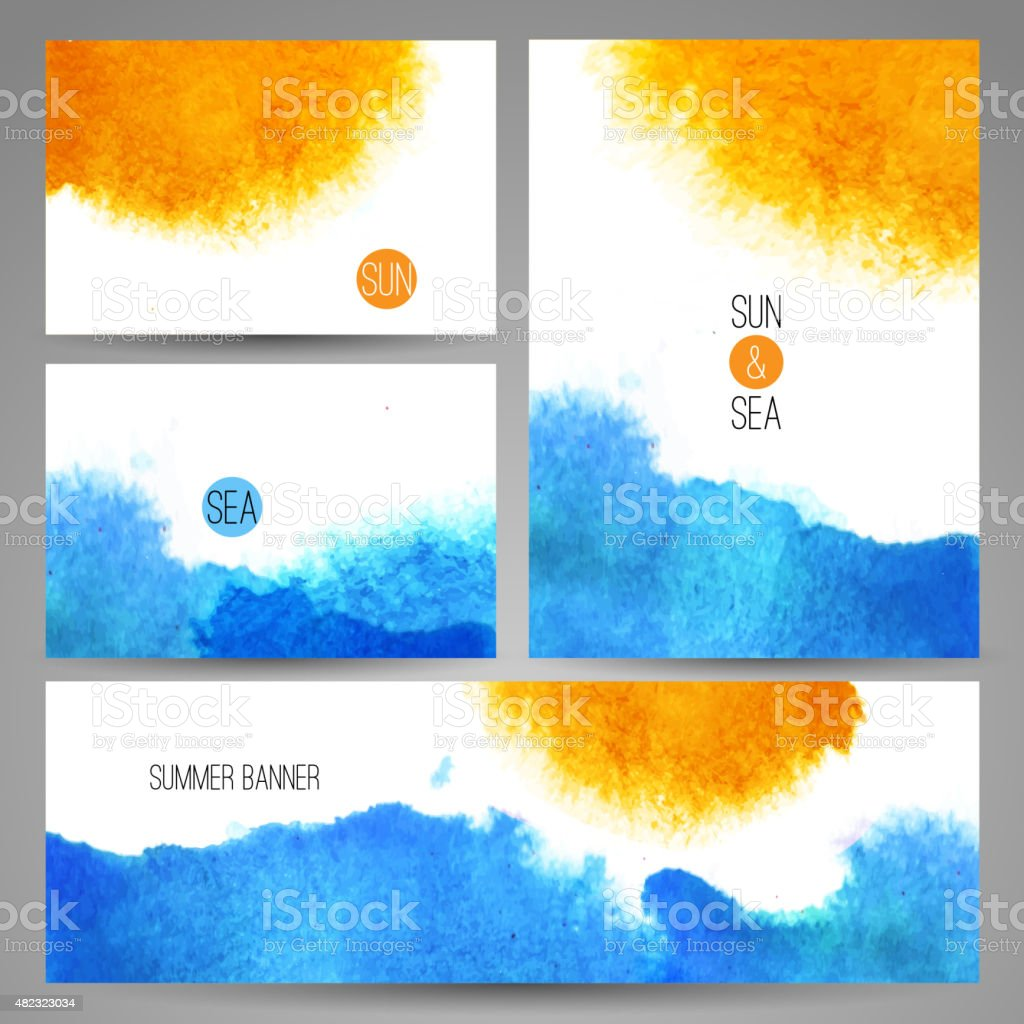 watercolor sea background poster or card template vector art vector art illustration