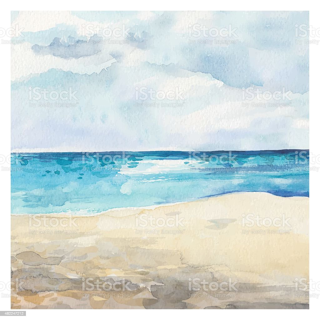 Watercolor Sea background vector art illustration