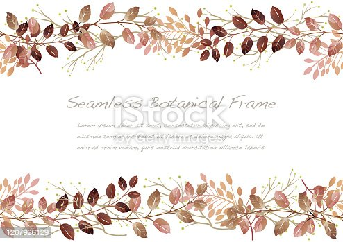 istock Watercolor Seamless Autumn Botanical Frame Isolated On A White Background. 1207926129