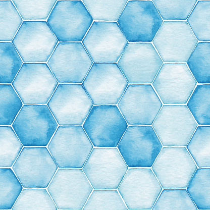 Watercolor Seamless Background With Blue Hexagon Tiles