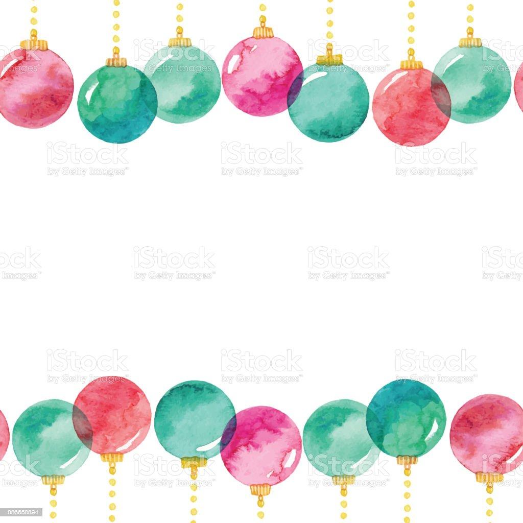 Ilustración de Acuarela Transparente Fondo Con Bolas De Navidad y ...