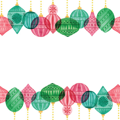 Watercolor Seamless Background With Christmas Ornament