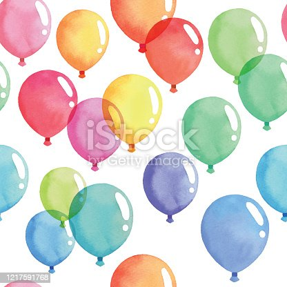 istock Watercolor Seamless Background With Coloful Balloon 1217591768