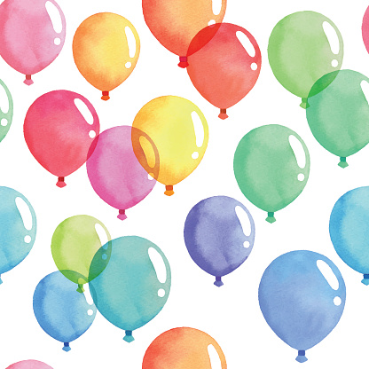 Watercolor Seamless Background With Coloful Balloon