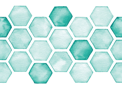 Watercolor Seamless Background With Green Hexagon Tiles