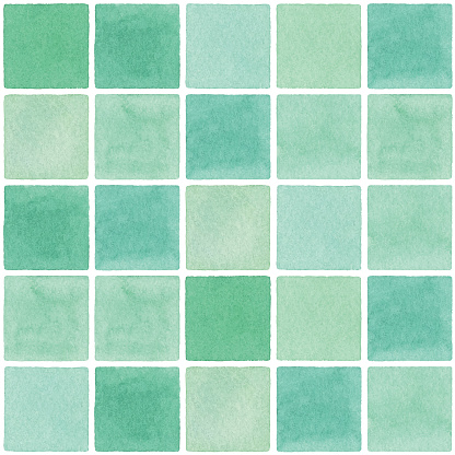 Watercolor Seamless Background With Green Square Tile