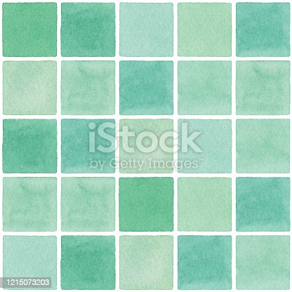 istock Watercolor Seamless Background With Green Square Tile 1215073203