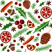 Watercolor Seamless Background with Winter Elements. Hot Mulled Wine Ingredient Christmas Pattern. Dried Orange, Cinnamon, Star Anise, Acorn, Leaves and Pine Tree Background.