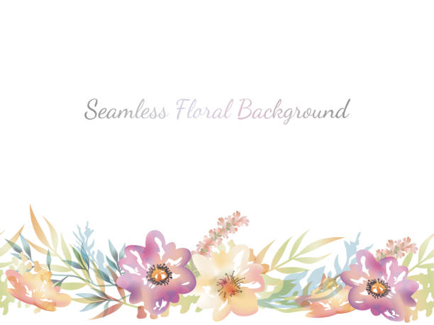 Watercolor seamless floral background with text space. Watercolor seamless floral background with text space, vector illustration. Horizontally repeatable. flowerbed stock illustrations