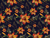 Watercolor floral sophisticated seamless pattern made of orange tiger lilies, green leaves and wild herbs on dark blue background. Botanical illustration in trendy vintage style. Boho chic design floral decoration. Textile, wrapping paper, wallpaper floral print.