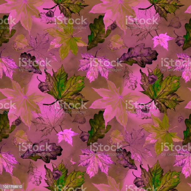Watercolor seamless pattern of autumn leaves of oak birch maple vector id1051758510?b=1&k=6&m=1051758510&s=612x612&h=dhaviax7adqn0yws rvpte blbmuhr lairlwd0sdok=