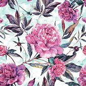 Watercolor seamless sophisticated pattern made of pink peonies, buds, green leaves and dragonflies isolated on grunge background. Botanical illustration in trendy vintage style. Shabby chic design floral decoration. Textile, wrapping paper, wallpaper floral print.