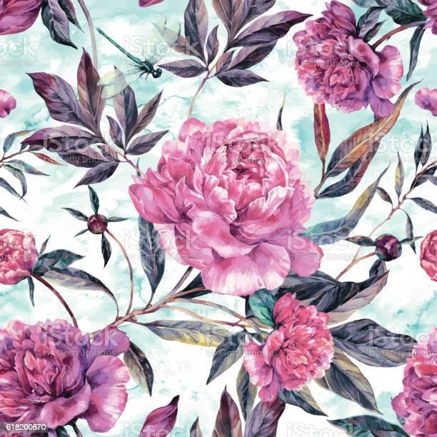 Watercolor seamless pattern of pink peonies and green leaves vector id618200670?b=1&k=6&m=618200670&s=612x612&h= 4rjalmp6jlssp vmhgpy5mqtqggrcq7iminlfxoej0=