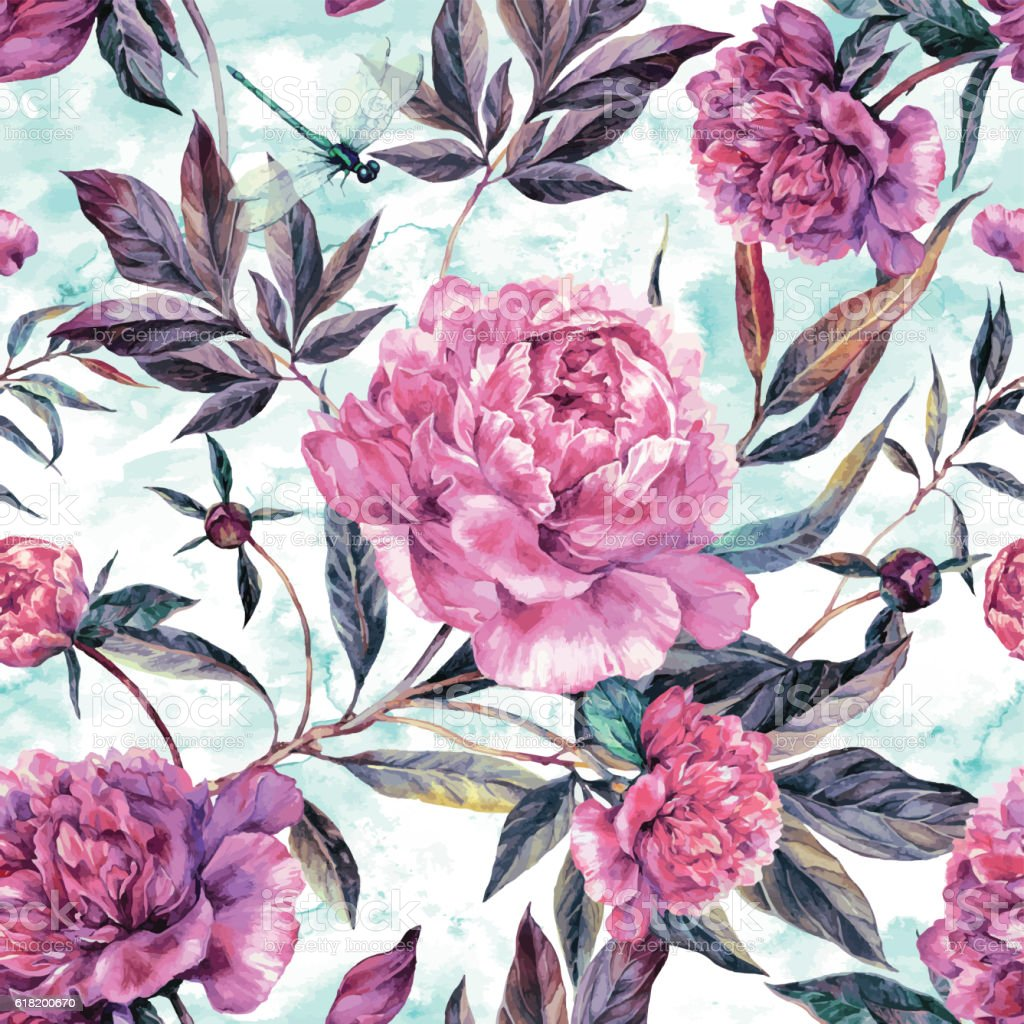 Watercolor seamless pattern of pink peonies and green leaves. - ilustración de arte vectorial